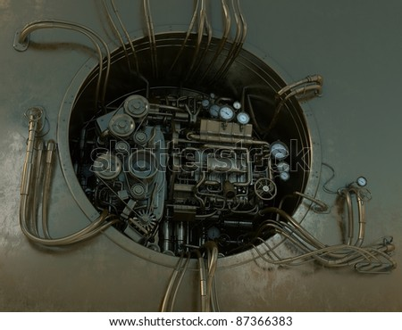 Cool steam punk wired mechanism - stock photo