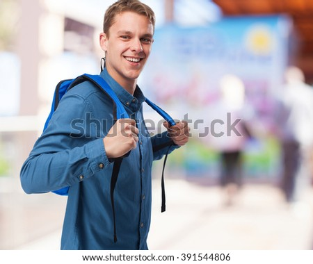 cool student man with back pack - stock photo
