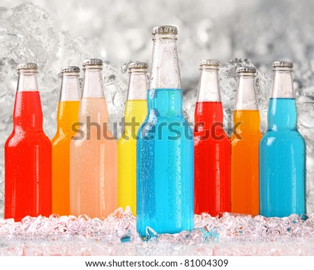 Cool summer drinks with ice background - stock photo