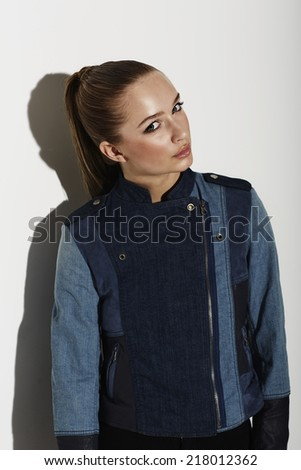 Cool teenage girl in fashionable clothes, portrait  - stock photo