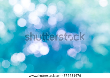 Cool Tone Pastel Blue Mint Abstract Bokeh Background - stock photo