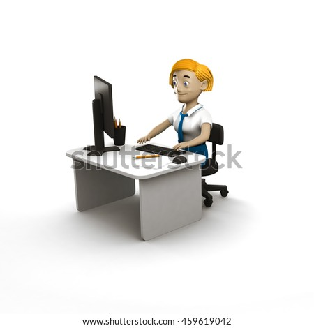 Cool volume business man in cartoon style. 3D person for presentation, print, advertising, web and business. Smiling young manager seating at the computer. Modern and cool style illustration.