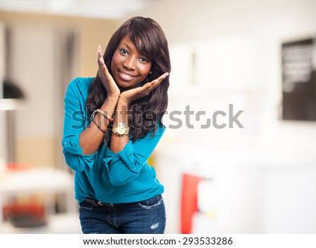 cool woman smiling - stock photo