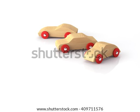 Cool wooden toy cars 3D image - stock photo