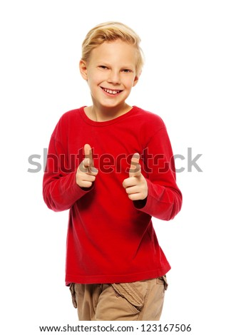 Cool 11 years old blond boy - stock photo