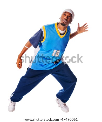 Cool young breakdancer isolated on white background - stock photo