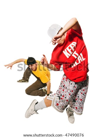 Cool young breakdancers isolated on white background - stock photo