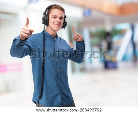 cool young-man with headphones - stock photo