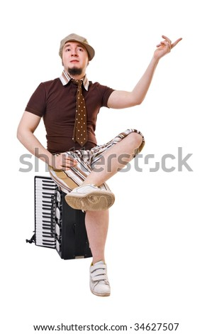 Cool young musician with concertina isolated on white background