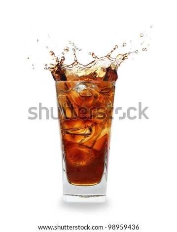 cooled Cola drink with ice cubes over white - stock photo