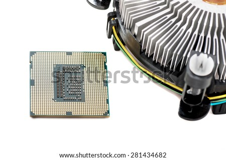 cooler and the CPU isolation - stock photo
