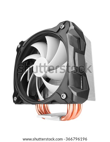 Cooler computer fan, isolated on white background - stock photo