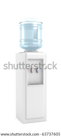 Cooler with water bottle on a white background, 3D render - stock photo
