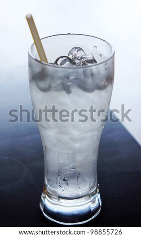 Cooling drinking water with ais - stock photo