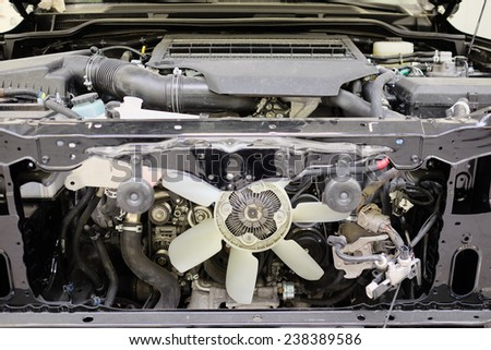 cooling fan under the hood - stock photo