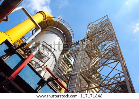 Cooling tower chemical factories, coal processing, Ostrava, Moravia, Czech Republic - stock photo