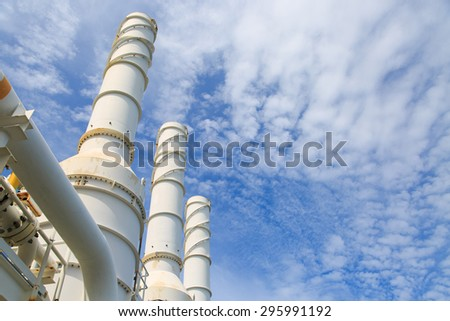 Cooling tower of oil and gas plant, hot gas from the process was cooling as the process, The line as same as the exhaust of turbine system, Exhaust of power plant - stock photo
