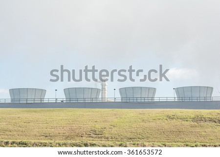 Cooling Towers at a coal fired power plant.