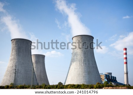 cooling towers in power plant - stock photo