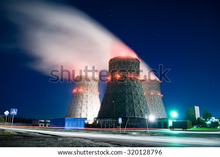 cooling towers. night view - stock photo