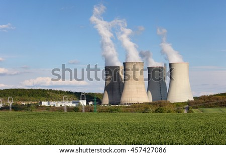 cooling towers of nuclear atomic power plant - stock photo