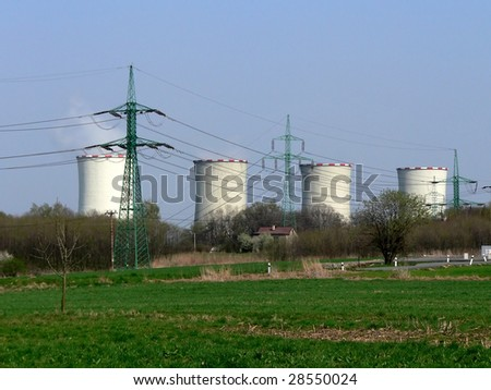 Cooling towers of power station with electric wire