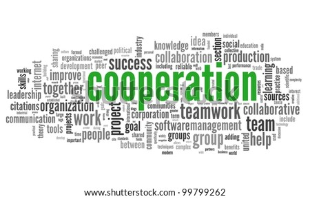 Cooperation and teamwork concept in word tag cloud on white - stock photo