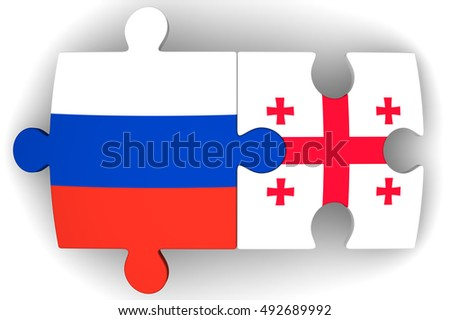 Cooperation between the Russian Federation and Georgia. Puzzles with flags of the Russian Federation and Georgia. The concept of coincidence of interests in geopolitics. Isolated. 3D Illustration