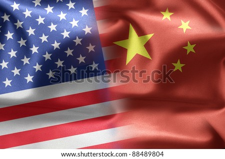 Cooperation between the two countries: the United States and China. - stock photo