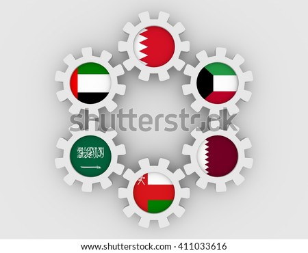 Cooperation Council for the Arab States of the Gulf. Politic and economic union members flags on cog wheels. Global teamwork. White background. 3D rendering - stock photo