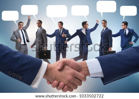 Cooperationa and teamwork concept with handshake