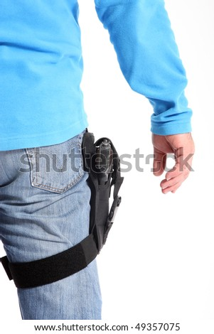 Cop with Pistol - stock photo