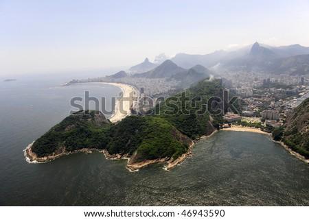Copabana beach and Praia Vermelha in Rio de Janeiro, aerial view - stock photo