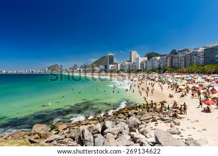 Copacabana and Leme beaches in Rio de Janeiro, Brazil - stock photo