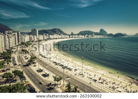 Copacabana Beach and Sugar Loaf Mountain in Rio de Janeiro,Brazil - stock photo