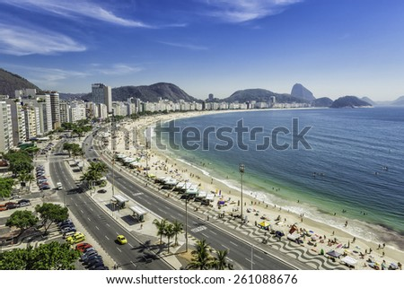 Copacabana Beach panorama from high angle in Rio de Janeiro,Brazil - stock photo