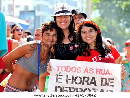 Copacabana beach, Rio de Janeiro, Brazil - April 17, 2016: People protest in support of President Dilma Rousseff. - stock photo