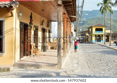 Copan Ruinas, Honduras - May 10, 2015: The view of the main plaza of a small colonial town of Copan Ruinas in Honduras, Central America.
