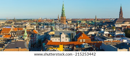 COPENHAGEN - AUGUST 30: the Panorama of city from height of an ancient observatory on August 30, 2014 in Copenhagen, Denmark - stock photo