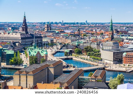 Copenhagen City, Denmark, Scandinavia. Beautiful summer day - stock photo