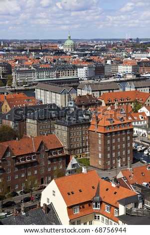 Copenhagen city from above. Copenhagen. Denmark. Photo is taken from the spire of Our Saviours Church and pointing across the old city. The building with the round  cobber roof, is the Marble Church