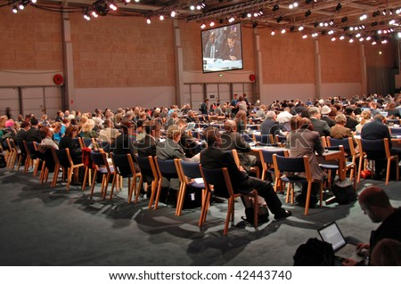 """COPENHAGEN - DEC 7: Opening Day, meeting at """"G77 and China"""", delegates in the Bella Center at the UN Climate Change Conference on December 7, 2009 in Copenhagen, Denmark. - stock photo"""