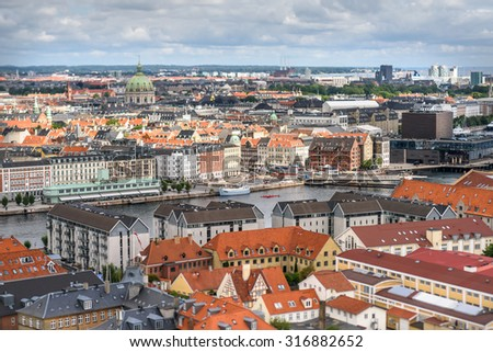 COPENHAGEN, DENMARK - AUGUST 01: Aerial view of Copenhagen City, Denmark, Scandinavia. View from Tower of Church of Our Saviour on August 1, 2015, Copenhagen, Denmark