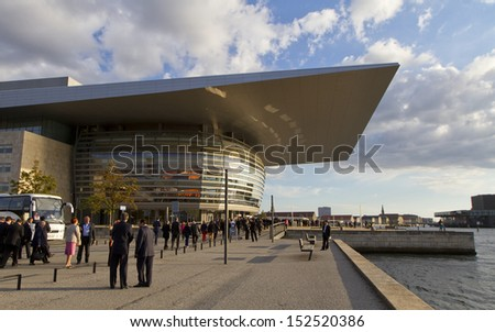 COPENHAGEN, DENMARK - AUGUST 27: Unknown people entering the Copenhagen Opera House on August 27, 2013. It is among the most modern opera houses in the world.
