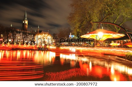 COPENHAGEN, DENMARK - DECEMBER 18, 2011: Night scenery of amusement park in Tivoli Gardens at Christmas