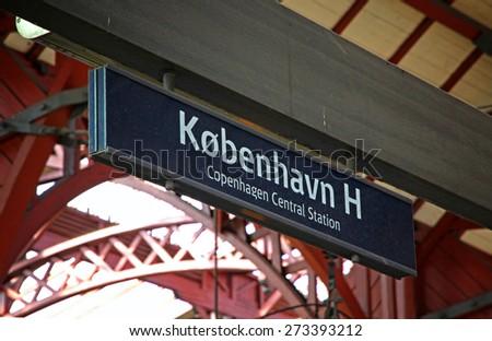 COPENHAGEN, DENMARK - JULY 28, 2012: Central Railway Station in Copenhagen, Denmark (Kobenhavns Hovedbanegard). It is the largest railway station in Denmark with 7 platforms and 13 tracks - stock photo