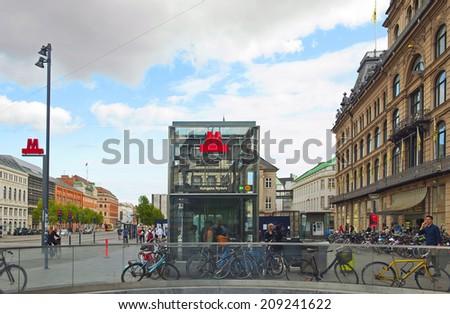 COPENHAGEN, DENMARK - JULY 1: Metro Kongens Nytorv Station in the center of Copenhagen on July 1, 2014 in Copenhagen - stock photo