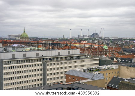 COPENHAGEN, DENMARK - JUNE 8: Copenhagen skyline from the observation deck at the Round tower  in Copenhagen, Denmark, June 8 2916 - stock photo