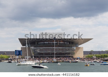 Copenhagen, Denmark - June 18, 2016: Spectators at the Red Bull cliff diving event at the Opera House.