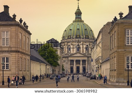 COPENHAGEN, DENMARK - Juny 27: Fredericks Church, popularly known as the Marble Church, is an evangelical lutheran church in central Copenhagen on Juny 27, 2015, Denmark - stock photo